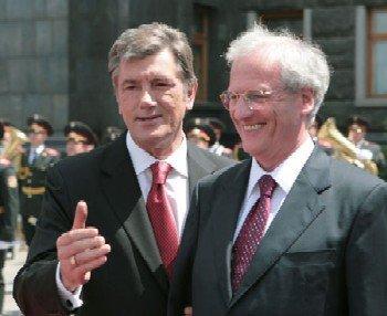 Виктор Ющенко с президентом Венгрии Ласло Шойомом. фото ФОРУМ