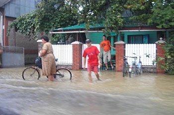 В подтопленном селе на Закарпатье.