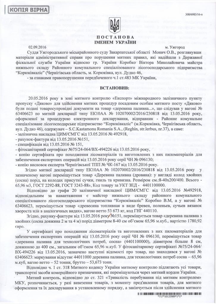 Ужгородский суд конфисковал очередной вагон леса