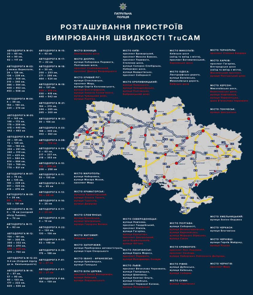 Где в Закарпатье будут установлены радары измерения скорости TruCam