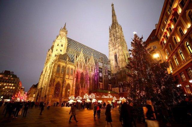 Классическая рождественская ель перед собором Святого Стефана в австрийской Вене.