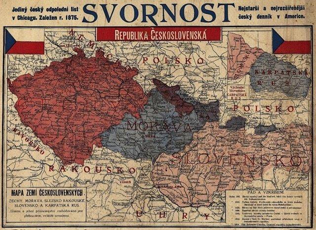 Карта Чехословакии 1919 года, к которой уже присоединена Карпатская Русь