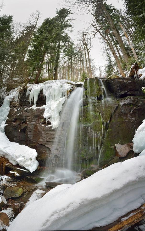 """Дивовижно! У горах Закарпаття ви можете зустріти """"льодовиковий"""" водоспад"""