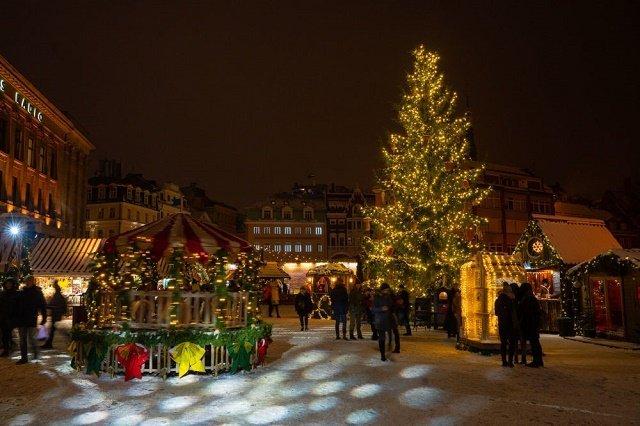 Рождественская ель на Домской площади в Риге, Латвия.