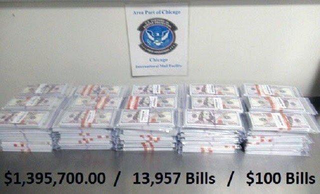В США на почте изъяли посылку из Украины с 1,3 млн фальшивых долларов