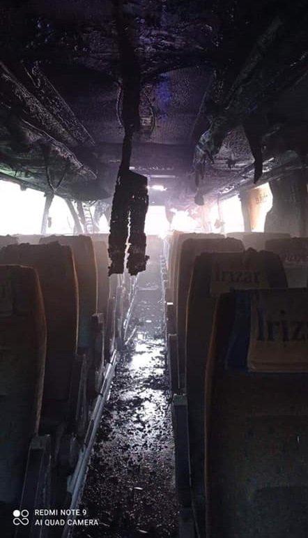 Во Львовской области сгорел автобус, на котором пассажиры возвращились из Польши