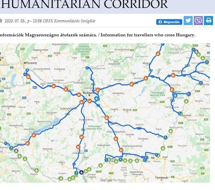 Венгрия: Карта гуманитарных коридоров для транзита