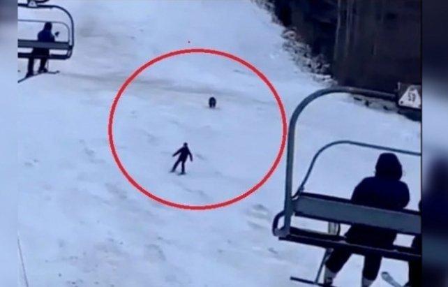 """Косолапый устроил """"гонки"""" с лыжником на курорте рядом с Закарпатьем"""