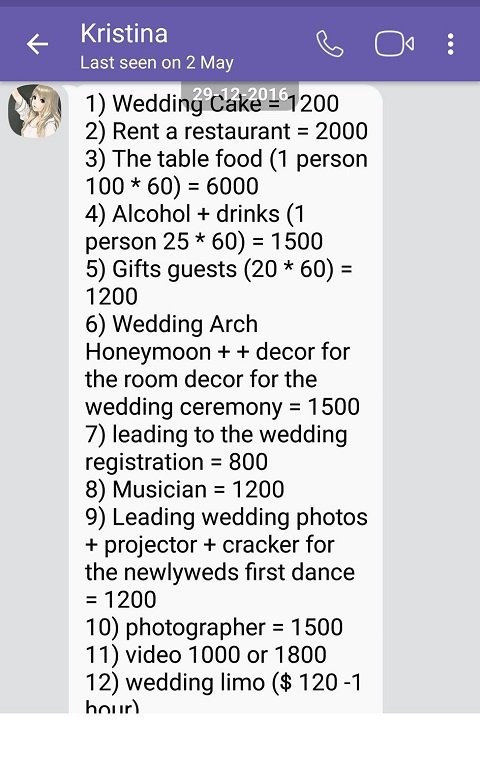 Украина-дешевая страна по европейским стандартам, но вы бы не догадались об этом, судя по свадебному счету Кристины на 20 000 долларов (14 100 фунтов стерлингов). Свадебный счет по пунктам