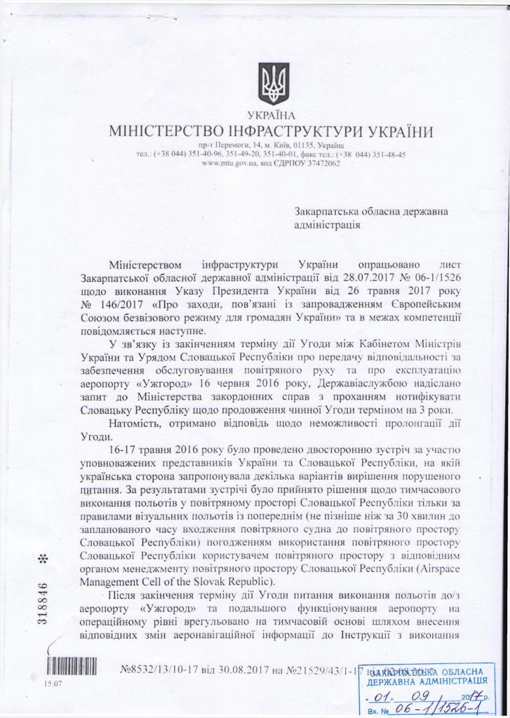 Ответ Министерства инфраструктуры Закарпатской ОГА