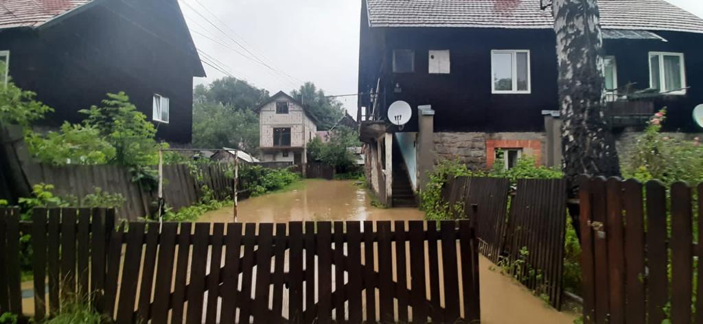 В Закарпатье река вышла из берегов, затопив ближайшие дворы и дома