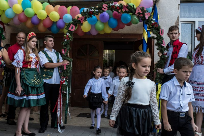 Students on the first day at a Hungarian-language school in Berehove