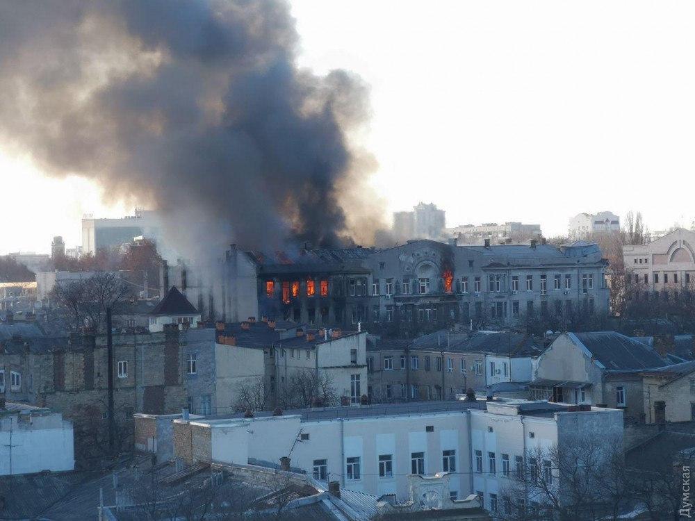 На пожаре в одесском колледже