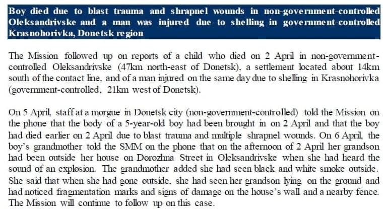 Специальная мониторинговая миссия ОБСЕ в Украине зафиксировала факт гибели ребенка при взрыве на Донбассе, о которой в Донецке заявили 3 апреля.