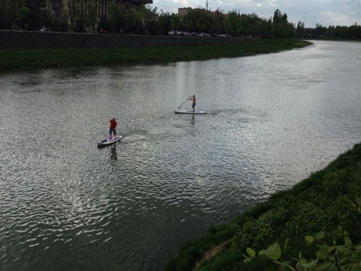 Плыли по реке на досках для серфинга, чем и заинтересовали большую публику
