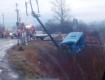 Разбитый автомобиль слетел в кювет: На Закарпатье с самого утра произошло мощное ДТП на железнодорожном переезде