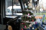 Салон автобуса «Ужгород – Лумшори» прикрашений новорічним дощиком, іграшками та ялинкою.