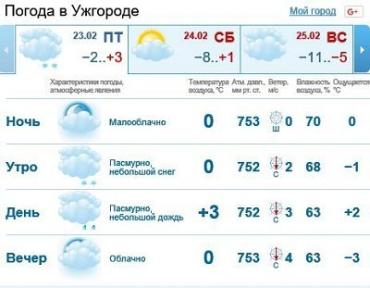 23 февраля в Ужгороде будет пасмурная погода, мелкий снег
