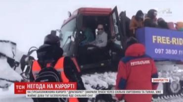 Через сильну хуртовину та туман на Драгобраті задля безпеки лижників закрили траси