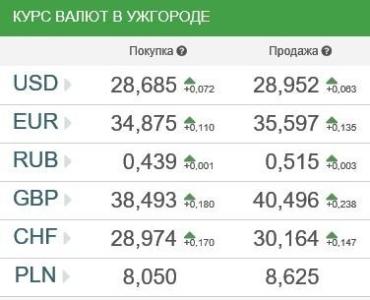 Курс валют в Ужгороде 23 января