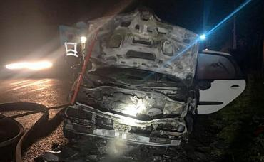 В Закарпатье прямо на трассе начал гореть проезжающий автомобиль