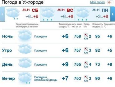 В Ужгороде будет пасмурно, а к вечеру ожидается дождь