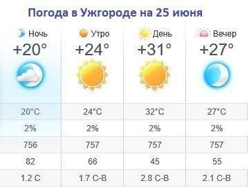 Прогноз погоды в Ужгороде на 25 июня 2019