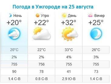 Прогноз погоды в Ужгороде на 25 августа 2019