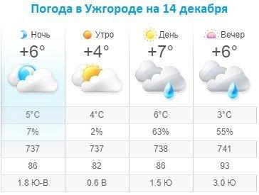 Прогноз погоды в Ужгороде на 14 декабря 2019
