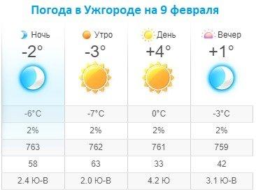 Прогноз погоды в Ужгороде на 9 февраля 2020