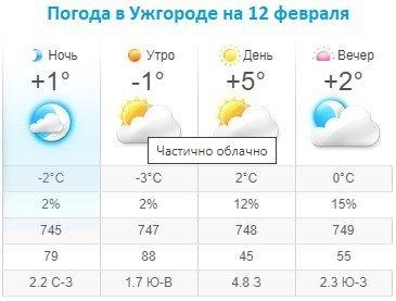 Прогноз погоды в Ужгороде на 12 февраля 2020