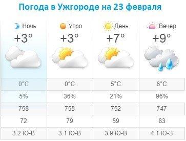 Прогноз погоды в Ужгороде на 23 февраля 2020