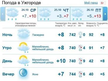 В Ужгороде весь день дождь, к вечеру должен прекратиться