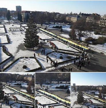 В Ужгороде развернули 100-метровый флаг
