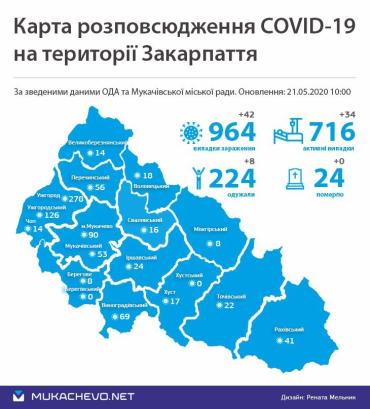 Официально. На коронавирус в Закарпатье заболели 964 человека