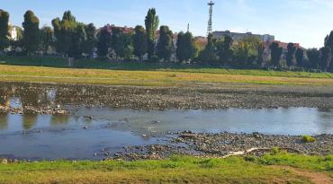 В Ужгороді річка настільки обміліла, що сягає в ширину не більше 5 метрів!