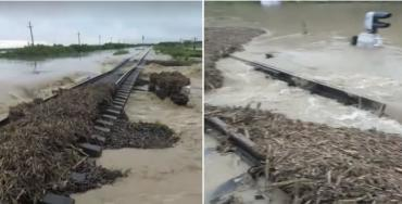 Велика вода знищила залізничний шлях поміж Франківщиною та Закарпаттям