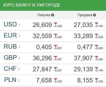 Курс валют в банках Ужгорода 13 февраля