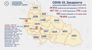 В Закарпатье по новым случаям COVID-19 лидируют Раховский и Иршавский районы: Данные на 26 января