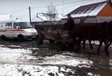 В Закарпатье скорая с пациентом заглохла посреди дороги: Положение спасли лошади