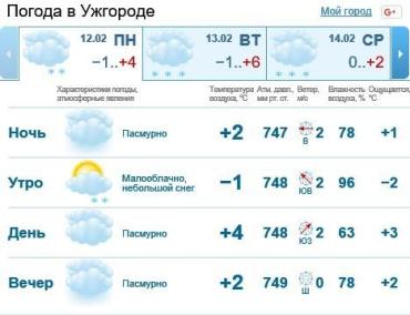 12 февраля в Ужгороде будет облачно, без осадков