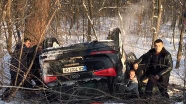 На трасі Київ-Чоп легковик перекинувся на дах — п'ятеро постраждалих