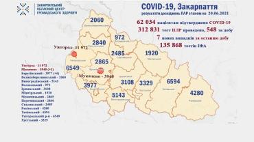 В Закарпатье за день 7 новых случаев коронавируса: Статистика на 20 июня