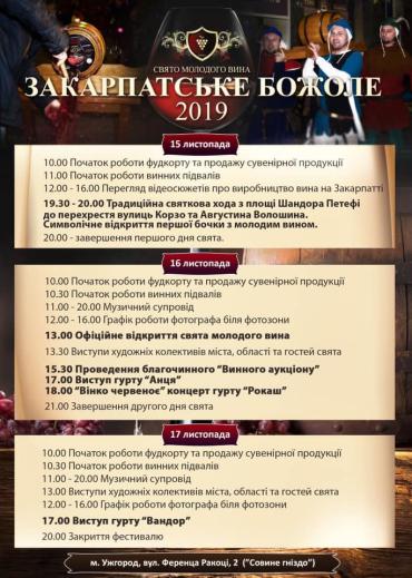 """Ужгород розпочинає фестиваль молодого вина """"Закарпатське Божоле"""""""