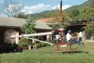 Глава села в Закарпатье без авиационного образования смастерил одноместный вертолет