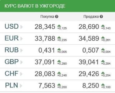 Курс валют в Ужгороде 12 января