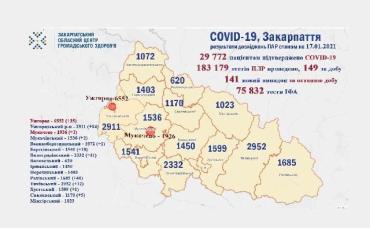 В Закарпатье почти 30 000 человек установлен диагноз COVID-19: Данные на 17 января