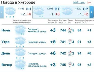 Прогноз погоды в Ужгороде на 11 февраля 2019