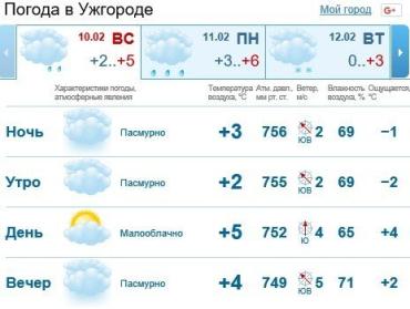 Прогноз погоды в Ужгороде на 10 февраля 2019