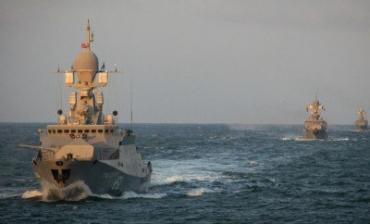 Группа ВМФ РФ состоит из 15 артиллерийских и десантных кораблей